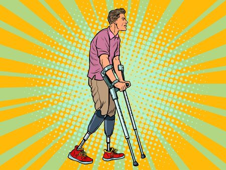 legless veteran with a bionic prosthesis with crutches. a disabled man learns to walk after an injury. rehabilitation treatment and recovery. pop art retro vector illustration kitsch vintage drawing 50s 60s Ilustração Vetorial