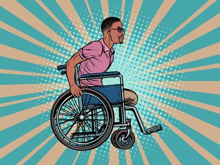 legless african man disabled veteran in a wheelchair. pop art retro vector illustration kitsch vintage drawing 50s 60s