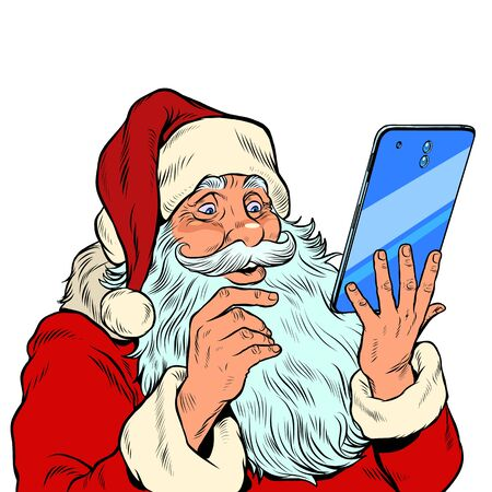 Santa Claus and a big smartphone. Electronic Christmas sales and orders in online stores. pop art retro vector illustration kitsch vintage drawing 50s 60s