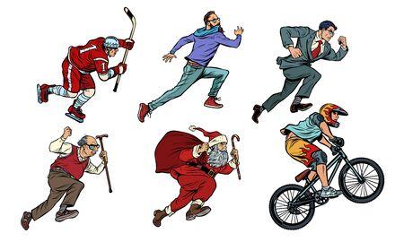set colección hockey hombre ciclista empresario corredor hipster Santa Claus. Dibujo de ilustración de vector retro pop art