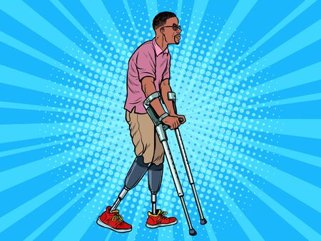 legless african veteran with a bionic prosthesis with crutches. a disabled man learns to walk after an injury. rehabilitation treatment and recovery. pop art retro vector illustration kitsch vintage drawing 50s 60s Ilustração Vetorial