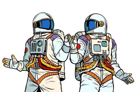 Dos amigos astronautas. Ilustración de vector retro pop art dibujo kitsch vintage