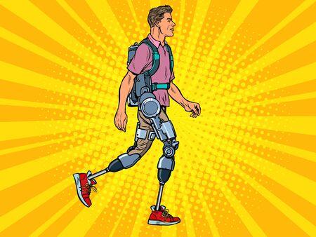 exoskeleton for the disabled. A man legless veteran walks. rehabilitation treatment recovery. science and technology. pop art retro vector illustration kitsch vintage drawing 50s 60s Ilustração Vetorial