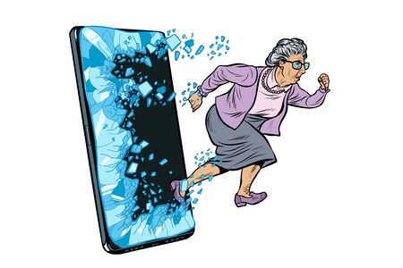 female retired lady and new technology concept. grandmother punches the screen of the smartphone and goes online