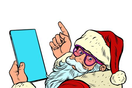 Santa Claus with a tablet. New year and Christmas online sales concept Illustration