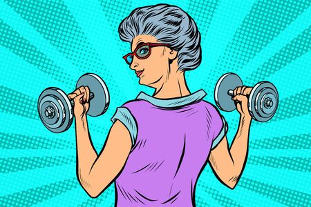 fitness dumbbells sport activity Woman grandmother pensioner elderly lady 일러스트