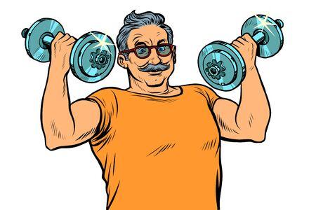 elderly man lifts dumbbells, fitness sport 일러스트