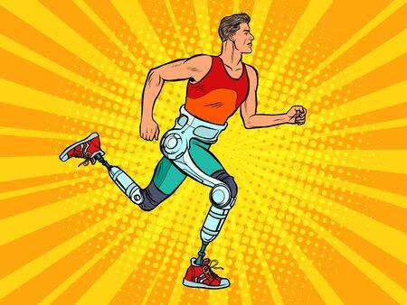 homme handicapé courant avec des prothèses de jambes Vecteurs