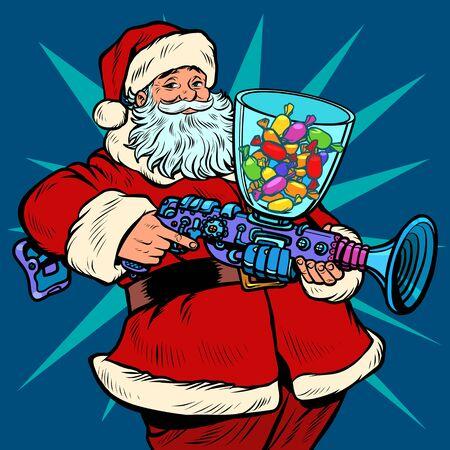 Machine à bonbons du père Noël, Noël et nouvel an. Pop art retro vector illustration kitsch dessin vintage