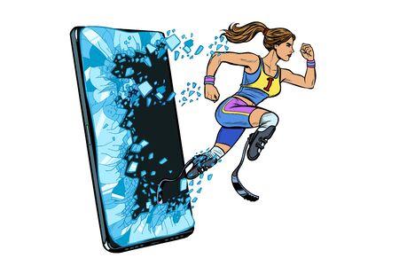 woman runner disabled leg with prosthesis Phone gadget smartphone. Online Internet application service program. Pop art retro vector illustration drawing vintage kitsch