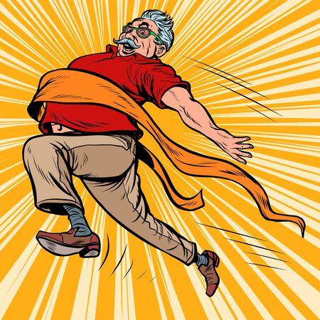 old man grandpa runs finish line, win. Pop art retro vector illustration kitsch vintage drawing Illustration