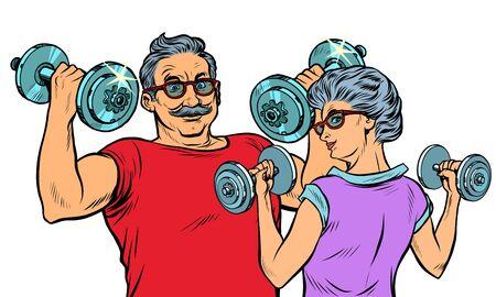 Grandparents do sports, fitness dumbbells. Pop art retro vector illustration drawing vintage kitsch 일러스트