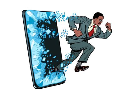 african businessman punches the screen Phone gadget smartphone. Online Internet application service program. Pop art retro vector illustration drawing vintage kitsch Banque d'images - 134439288