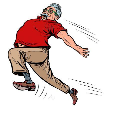 old man grandpa runs. Pop art retro vector illustration kitsch vintage drawing Ilustrace