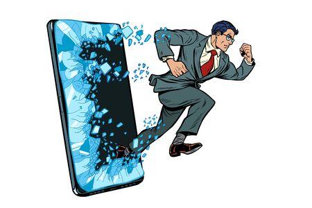 businessman punches the screen Phone gadget smartphone. Online Internet application service program. Pop art retro vector illustration drawing vintage kitsch Banque d'images - 135449517