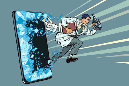 uno scienziato maschio con un microscopio. Telefono cellulare smartphone. Programma di servizi di applicazioni Internet online. Pop art retrò illustrazione vettoriale disegno vintage kitsch