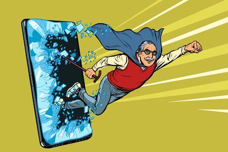 Servicio en línea para el concepto de pensionistas. Anciano golpea la pantalla del teléfono inteligente. Programa de servicio de aplicaciones de Internet en línea. Ilustración de vector retro pop art dibujo kitsch vintage