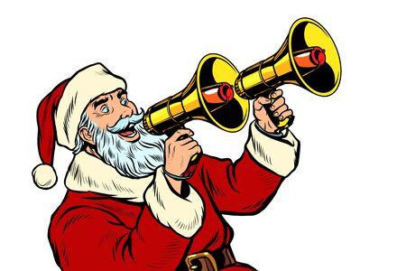 Santa Claus with a megaphone. Christmas sale. Pop art retro vector illustration kitsch vintage drawing