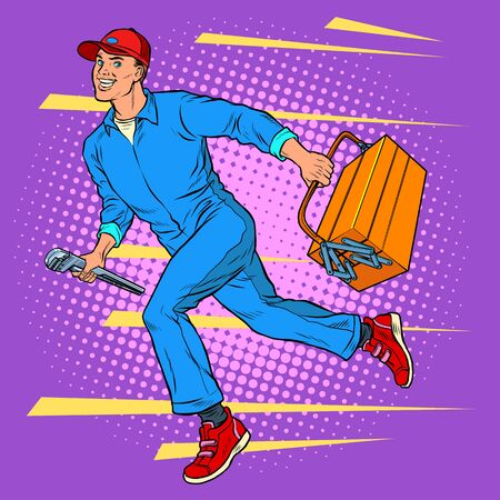 Male master repairman runs 向量圖像