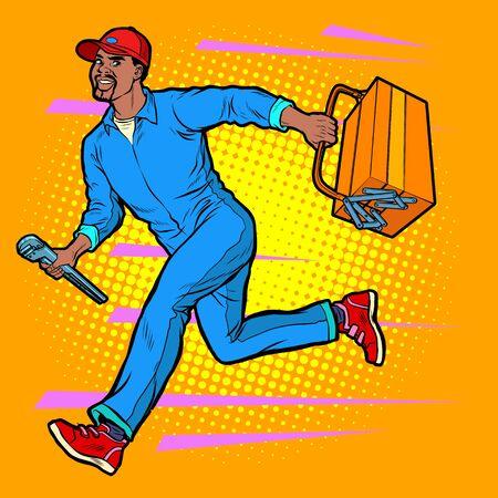 Male African master repairman runs 向量圖像
