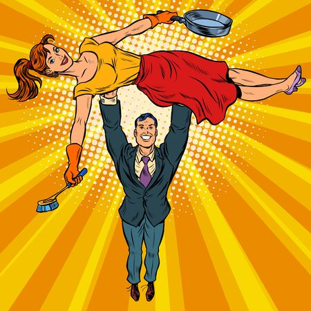 Husband is a businessman and wife is a housewife. Gender stereotypes. Pop art retro vector illustration kitsch vintage 50s 60s Vettoriali