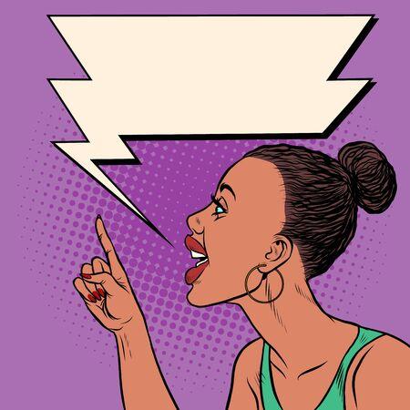 African woman threatens finger. Pop art retro vector illustration kitsch vintage 50s 60s Illustration