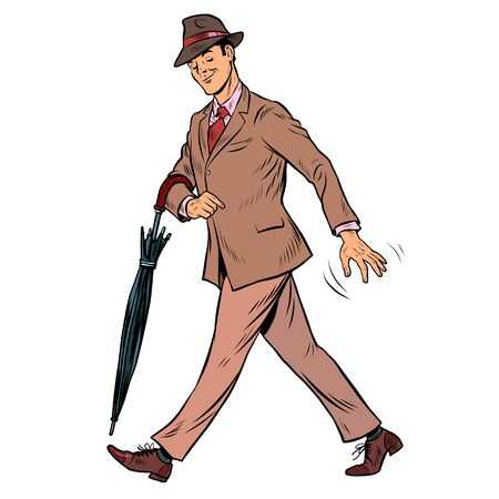 Elegant retro gentleman with an umbrella. Pop art retro vector illustration 50s 60s style Vettoriali