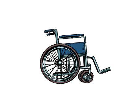 silla de ruedas vacía. salud humana, rehabilitación e inclusión. arte pop retro ilustración vectorial kitsch dibujo vintage 50s 60s
