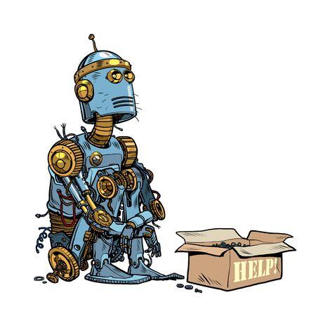Obdachloser Bettler-Roboter bittet um Almosen. Pop-Art-Retro-Vektor-Illustration 50er 60er Jahre Stil
