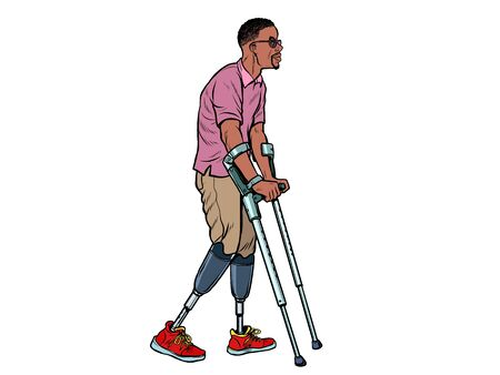 legless african veteran with a bionic prosthesis with crutches. a disabled man learns to walk after an injury. rehabilitation treatment and recovery. pop art retro vector illustration kitsch vintage drawing 50s 60s