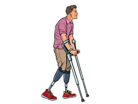 legless veteran with a bionic prosthesis with crutches. a disabled man learns to walk after an injury. rehabilitation treatment and recovery. pop art retro vector illustration kitsch vintage drawing 50s 60s