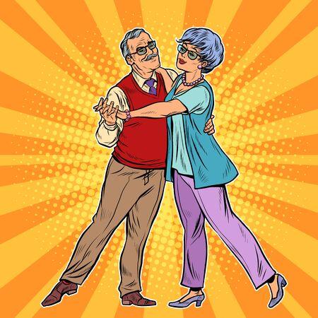 Elderly couple dancing. Pop art retro vector illustration 50s 60s style Illustration