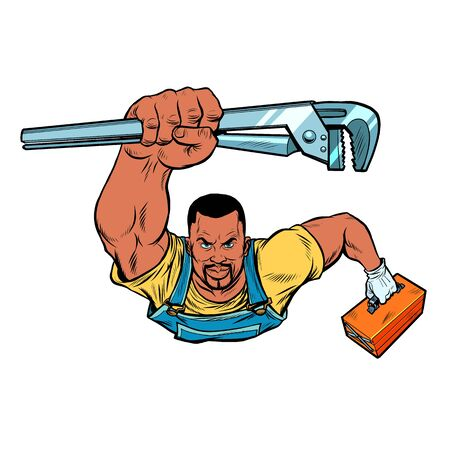African repairman with an adjustable wrench rushes to the rescue. Pop art retro vector illustration 50s 60s style Vectores