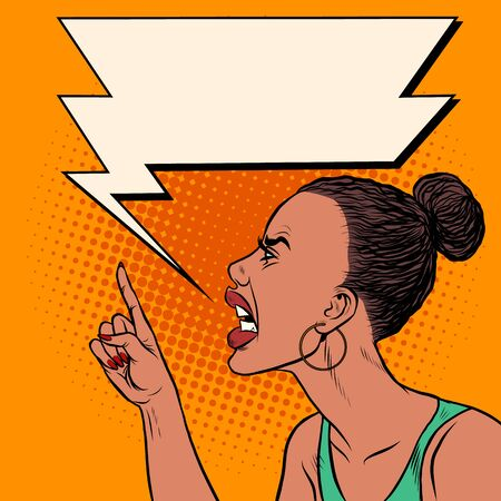 Angry African woman threatens finger. Pop art retro vector illustration kitsch vintage 50s 60s
