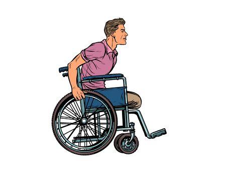 legless man disabled veteran in a wheelchair. pop art retro vector illustration kitsch vintage drawing 50s 60s