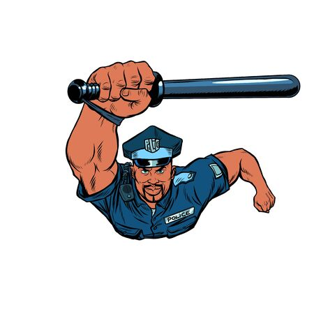 African Police officer with a baton. Pop art retro vector illustration 50s 60s style Ilustração