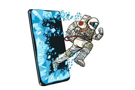Scientific online applications concept. Astronaut runs through a smartphone. Online Internet application service program. Pop art retro vector illustration drawing vintage kitsch