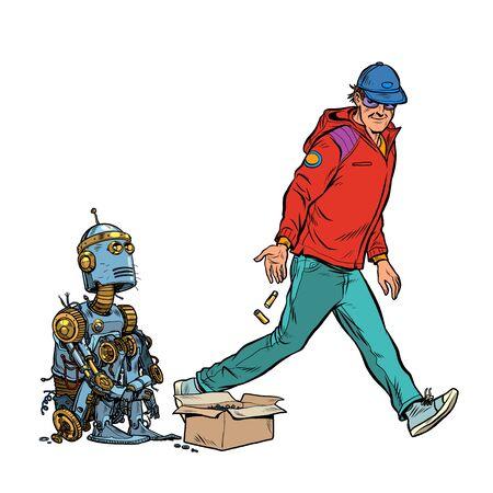 Obdachloser Bettler-Roboter bittet um Almosen. Pop-Art-Retro-Vektor-Illustration 50er 60er Jahre Stil Vektorgrafik