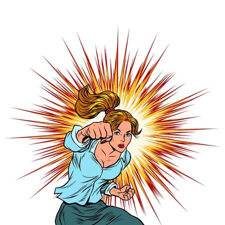 Female force is a blow. Feminism. Pop art retro vector illustration kitsch vintage 50s 60s 向量圖像