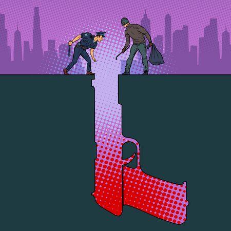 Détective criminel de la police des armes à feu. Silhouette de fosse. Pop art retro vector illustration style années 50 60 Vecteurs