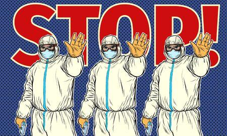 Stop doctor quarantine.   art retro vector illustration 50s 60s style