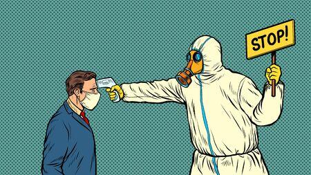 Temperature measurement Stop doctor quarantine.  epidemic outbreak. Pop art retro vector illustration 50s 60s style Illustration