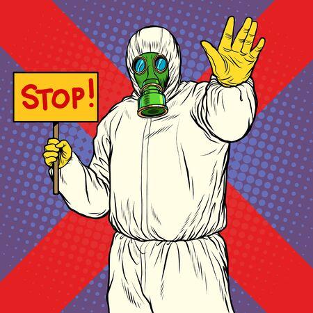 Stop doctor quarantine.  Pop art retro vector illustration 50s 60s style