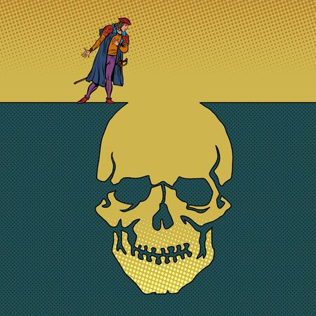 hamlet and the skull. Man next to a deep pit silhouette. Pop art retro vector illustration 50s 60s style