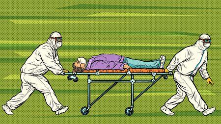 Doctors take away a sick patient. coronavirus 2019-nCoV epidemic outbreak