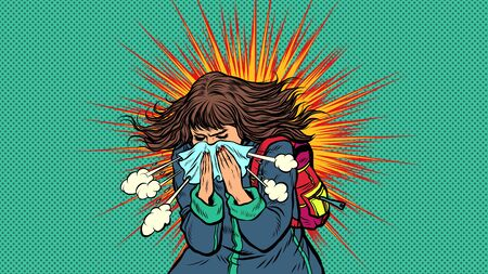 Woman sneezes, symptoms of the disease. Novel coronavirus 2019-nCoV epidemic outbreak