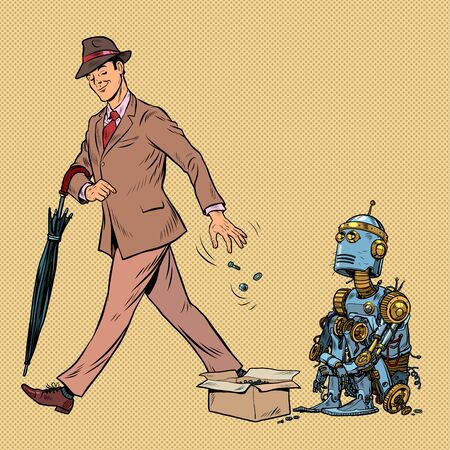 Beggar homeless robot asks for alms. Pop art retro vector illustration 50s 60s style