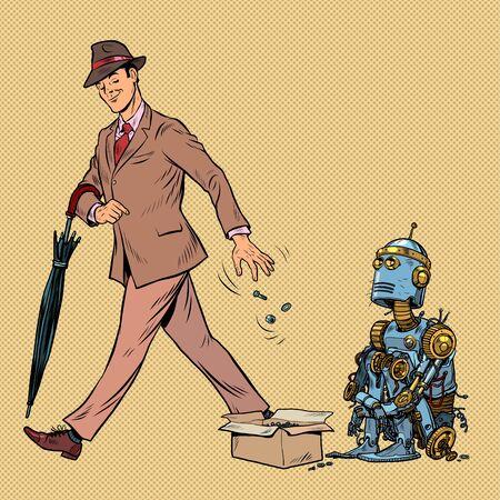 Beggar homeless robot asks for alms. Pop art retro vector illustration 50s 60s style Illustration