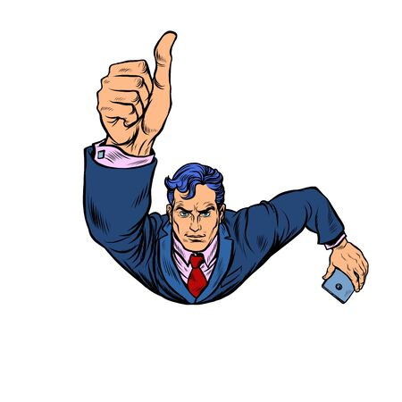 A businessman with a smartphone like, thumbs up. Flying like a superhero. Pop art retro vector illustration 50s 60s style Ilustracja