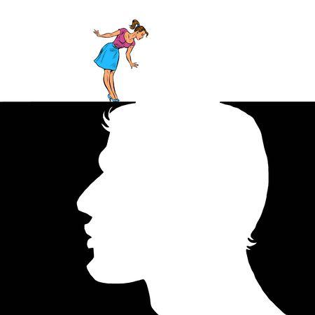 Woman and man love concept. Pit silhouette. Pop art retro vector illustration 50s 60s style Banque d'images - 142009253